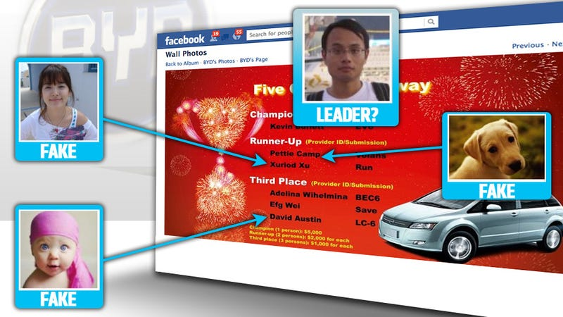 Illustration for article titled How Shills From Warren Buffett's Chinese Car Company Stole Their Own Facebook Contest