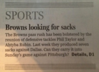 Illustration for article titled Cleveland Newspaper Headline Inadvertently Says Browns Have No Balls
