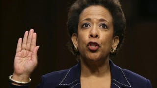 Loretta Lynch being sworn in before testifying during her confirmation hearing before the Senate Judiciary Committee Jan. 28, 2015, on Capitol Hill in Washington, D.C.Alex Wong/Getty Images