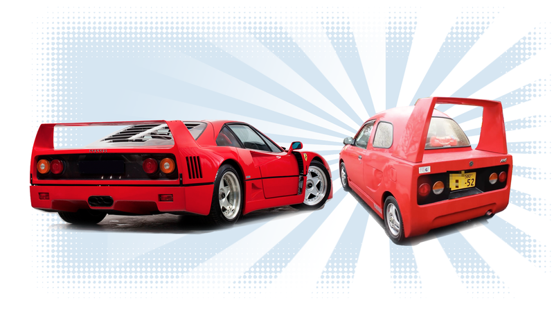 Illustration for article titled This Tiny Car Wanted To Be A Ferrari F40 Just So Badly
