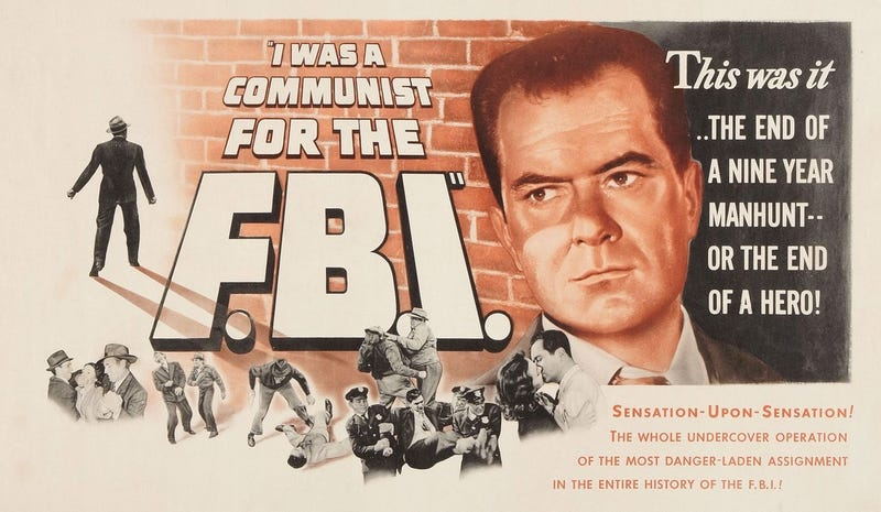 "Movie poster for the 1951 film ""I Was a Communist for the FBI"" (Movieposterdb.com)"