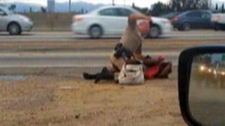 California Highway Patrol Officer Daniel Andrew captured on video apparently beating 51-year-old Marlene Pinnock.YouTube
