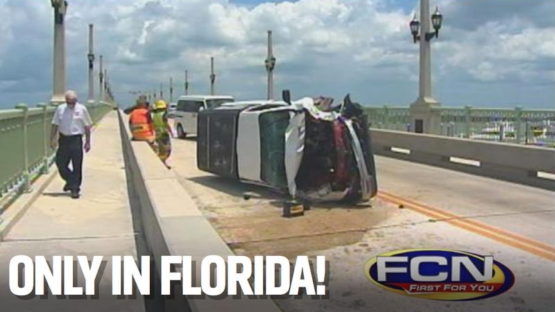 Illustration for article titled Floridian Man Flips Truck And Then Gets All Sorts Of Naked