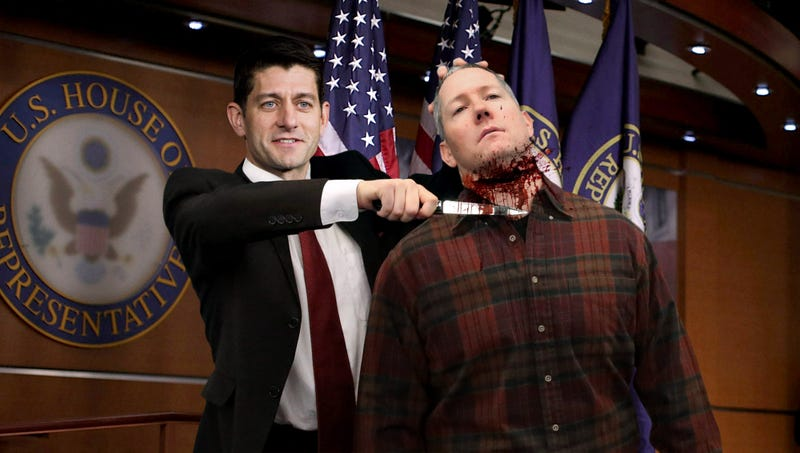 Illustration for article titled Paul Ryan Slits Auto Mechanic's Throat To Kick Off GOP Purge Of Working Class