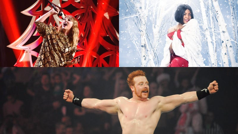 From top left: Taylor Swift (Photo: Kevin Winter/Getty Images for IHeartRadio), Taraji P. Henson (Photo: Michael Becker/Fox), Sheamus (Photo: Kris Connor/Getty Images for WWE)
