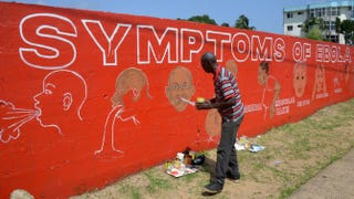Street artist Stephen Doe paints an educational mural to inform people about the symptoms of the deadly Ebola virus in the Liberian capital, Monrovia, on Sept. 8, 2014.Domonique Faget/Getty Images