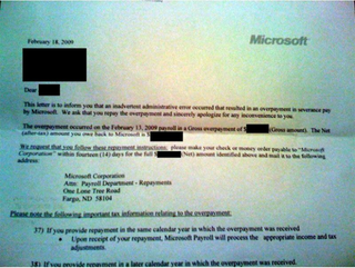 Illustration for article titled Microsoft Overpaid Some Layoff Severances, Asks for It Back