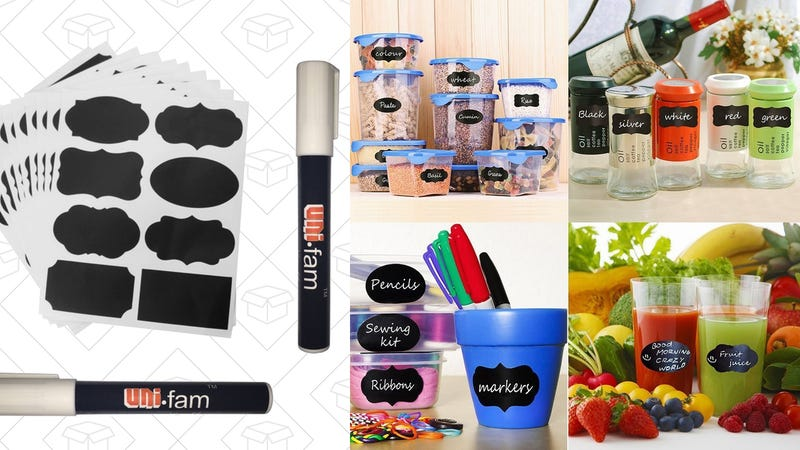 80 Chalkboard Stickers + Two Erasable Markers, $7 with code MVC8LU5X