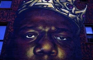 """Mural of late rapper Christopher """"Notorious B.I.G."""" Wallace in the Bedford-Stuyvesant neighborhood of Brooklyn, N.Y., on April 15, 2016 (Raymond Boyd/Getty Images)"""