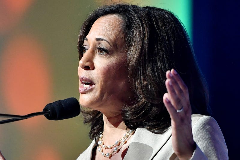 Kamala Harris speaks on stage at 2019 ESSENCE Festival at Ernest N. Morial Convention Center on July 06, 2019 in New Orleans, Louisiana.