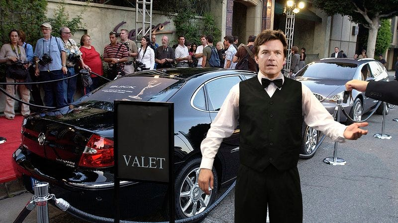 Jason Bateman working as a valet at the Emmys.