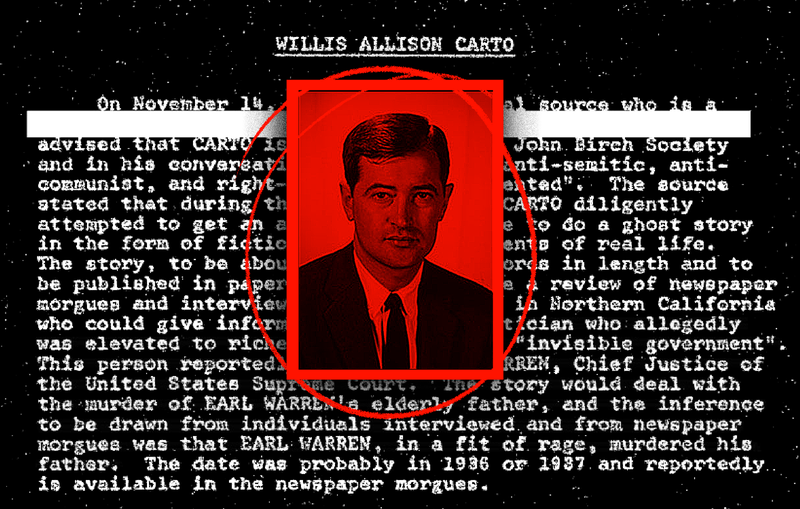 Photo illustration by Jim Cooke from a photo of Willis Carto via the Southern Poverty Law Center