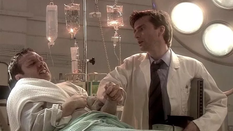 David Tennant as Doctor Briscoe, one of Quatermass's fellow scientists, in the live 2005 TV remake of The Quatermass Experiment. It broadcast just weeks before Tennant was officially revealed as Doctor Who's next Doctor, fact fans!