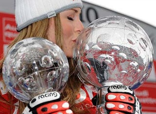 Illustration for article titled Lindsey Vonn Loves Spherical Sports Trophies, Cows
