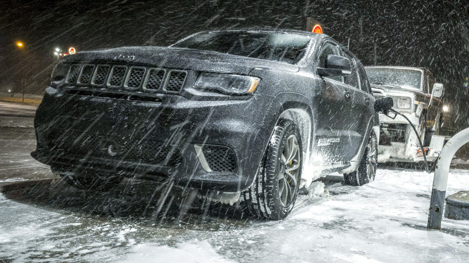 Jeep In Snow >> Towing An Old Jeep Through An Ice Storm With A 707 Hp Jeep