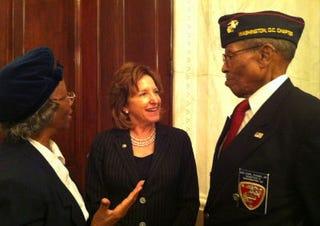 Sen. Kay Hagan, Montford Point Marine Sgt. Earl Evans and his wife, Madie.