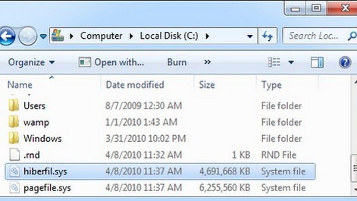 hiberfil.sys file location