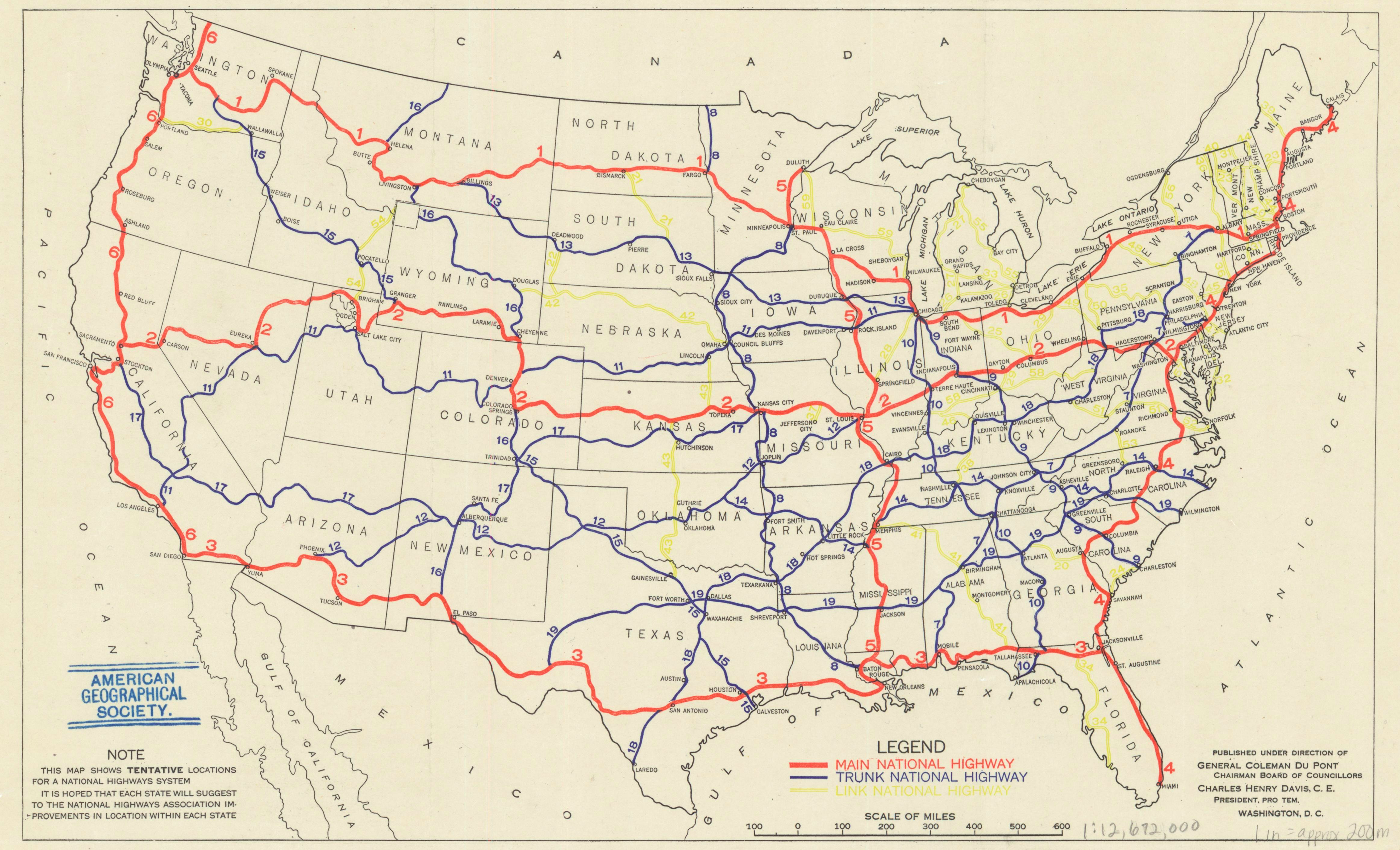 A Map Of The First Proposed US Highway Network