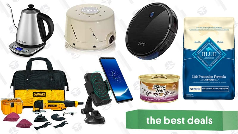 Illustration for article titled Friday's Best Deals: Pet Food, White Noise Machine, Qi Charging Car Mount, and More