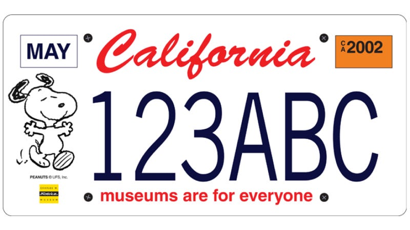 Illustration for article titled California Drivers Can Get A Snoopy License Plate To Save Museums