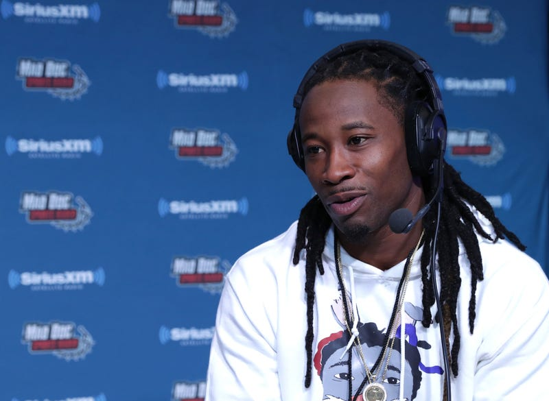 New York Giants cornerback Janoris Jenkins visits the SiriusXM set at Super Bowl LI Radio Row at the George R. Brown Convention Center on Feb. 3, 2017, in Houston.