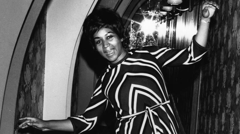 American soul singer Aretha Franklin dancing for the cameras.
