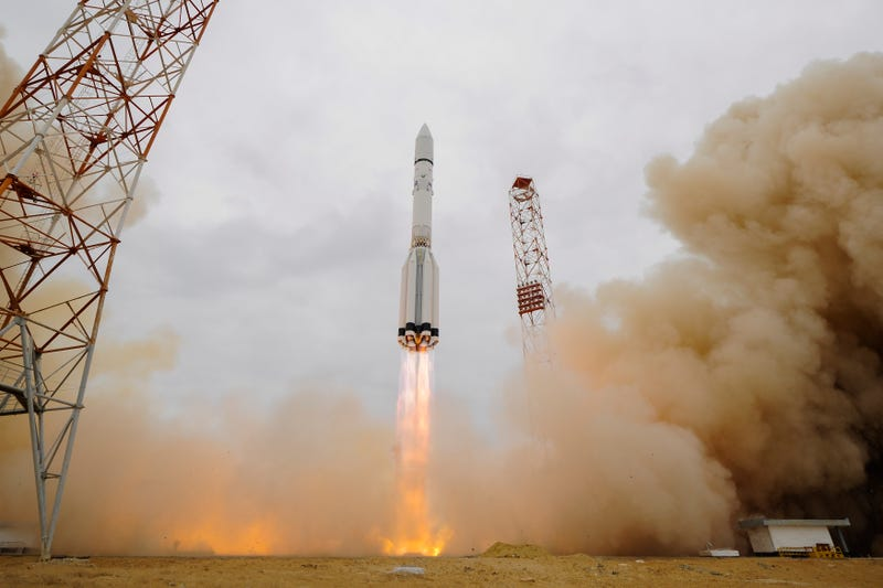 ExoMars 2016 lifted off on a Proton-M rocket from Baikonur, Kazakhstan at 09:31 GMT on 14 March 2016. Image Credit: ESA–Stephane Corvaja