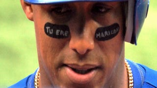 "Illustration for article titled Yunel Escobar's Eyeblack Reads ""You Are A Faggot"" In Spanish [UPDATE]"