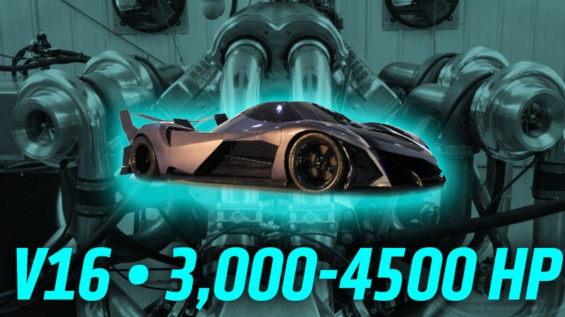 Illustration for article titled The Devel Sixteen's Insane 3,000+ HP V16 Engine Seems To Actually Exist