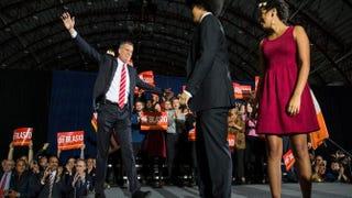 Newly elected New York City Mayor-elect Bill de Blasio, his son, Dante de Blasio, and his daughter Chiara de Blasio at his election night partyAndrew Burton/Getty Images