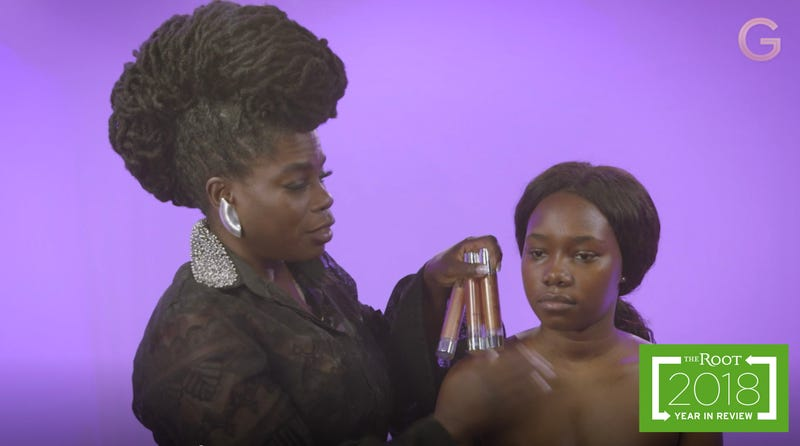 Makeup artist Danessa Myricks uses her products on a model in our studio.