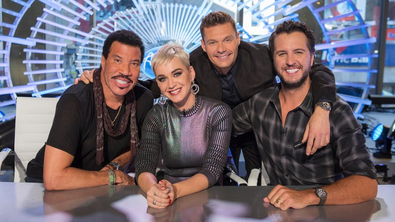 Judges Lionel Richie, Katy Perry, and Luke Bryan with host Ryan Seacrest