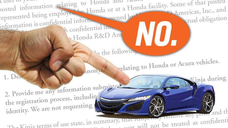 Illustration for article titled Honda's Lawyers Want Us To Dox One Of Our Readers; We Said Hell No