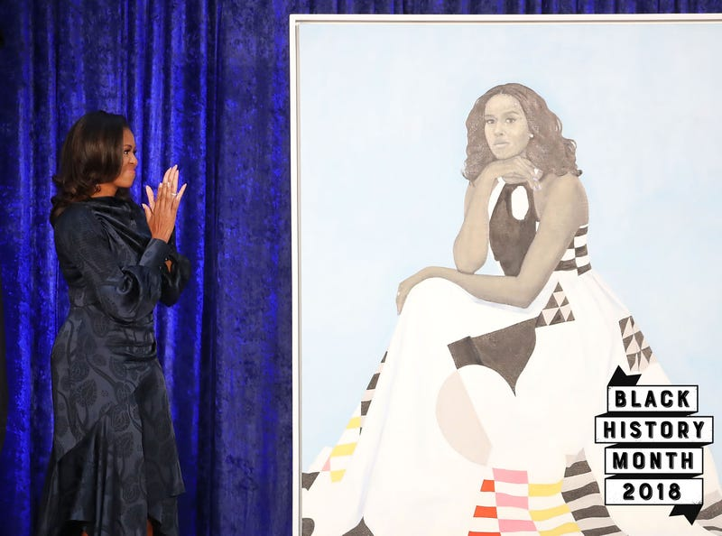 Former first lady Michelle Obama looks at her newly unveiled portrait during a ceremony at the Smithsonian's National Portrait Gallery on Feb. 12, 2018, in Washington, D.C. (Mark Wilson/Getty Images)