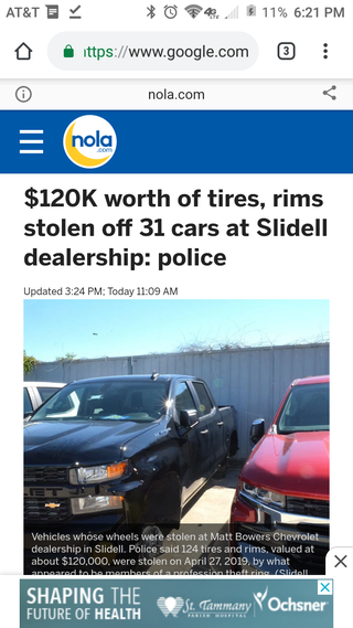 Illustration for article titled $120,000 Worth of Wheels and Tires Stolen From My Local Chevy Dealer.