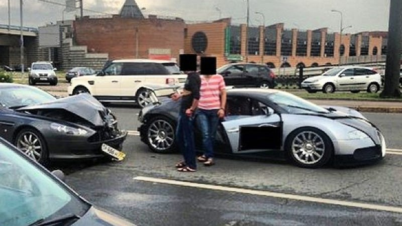 Illustration for article titled Aston Martin Crashes Into Bugatti Veyron In Expensive Fender-Bender