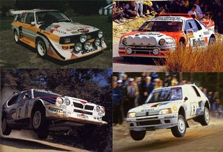 Illustration for article titled Crowning The King Of 1986: Audi Quattro S1 vs Ford RS200 vs Lancia Delta S4 vs Peugeot 205 TI6