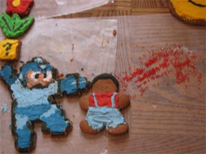 Illustration for article titled Mega Man Blows Mario's Badly-Rendered Gingerbread Brains Out