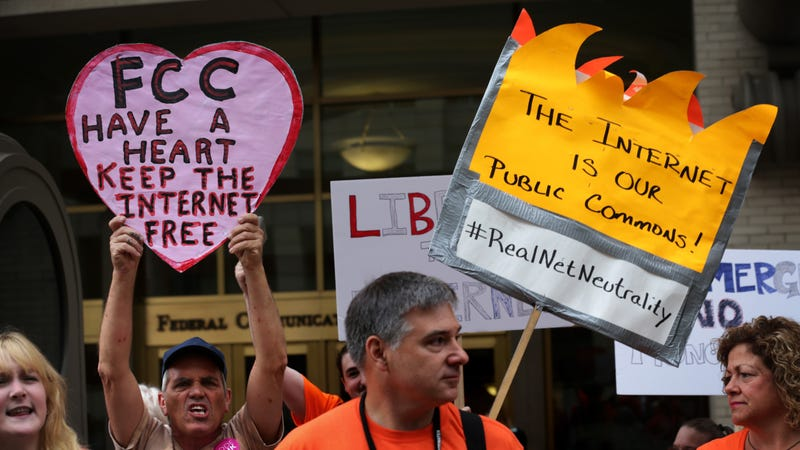 Protesters rally in favor of net neutrality at the FCC in 2015. Getty.