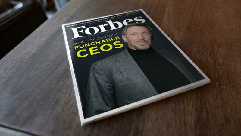 Larry Ellison of Oracle was named the CEO most deserving of a swift punch to the throat.