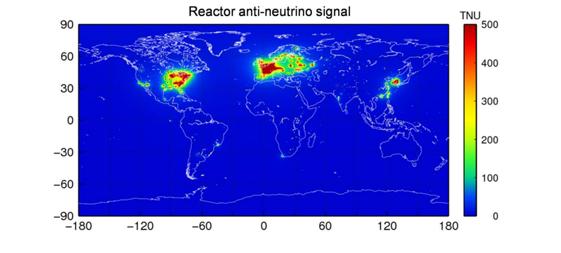 Illustration for article titled This Map Shows All the Antineutrinos Spewed Out By Nuclear Plants