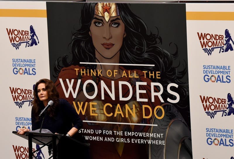 Actress Lynda Carter, well-known for playing Wonder Woman in the 1970s TV series, speaks during a ceremony as the United Nations names the comic character its honorary ambassador for the empowerment of women and girls Oct. 21, 2016, in New York City.TIMOTHY A. CLARY/AFP/Getty Images