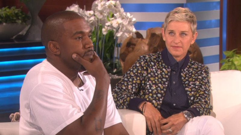 Illustration for article titled Kanye West delivers a rant for the ages on Ellen