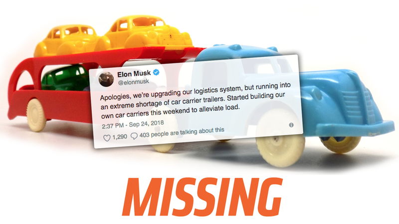 Illustration for article titled Auto Haulers Don't Know Anything About Elon Musk's Claimed 'Extreme Shortage' of Car Carrier Trailers