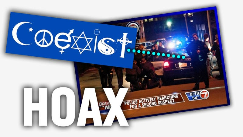"Illustration for article titled The ""Coexist"" Sticker On Boston Bomber-Carjacked Car Is A Stupid Hoax"