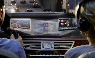 Illustration for article titled Mercedes Dual-View Front Seat Screen Finally US-Bound