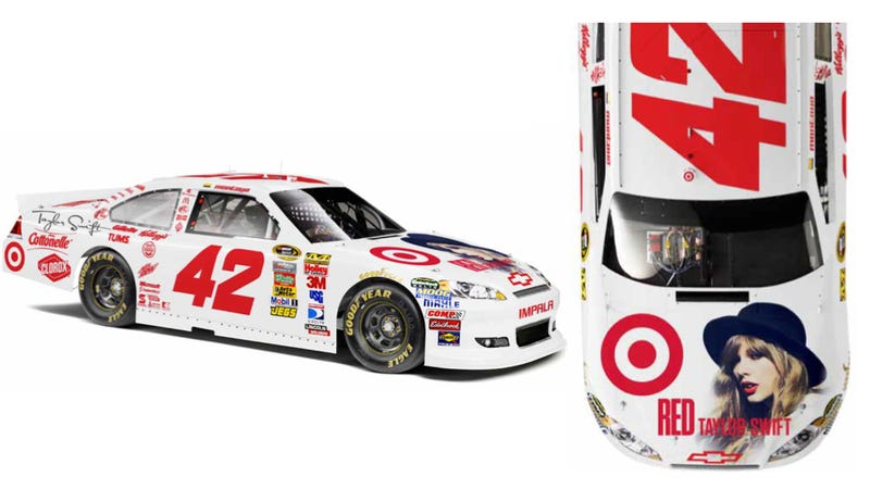 Illustration for article titled This Taylor Swift NASCAR Paint Job Is Bizarre And Completely Real