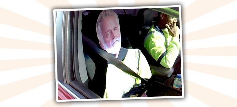 Illustration for article titled Guy Gets Caught Cheating HOV Lane With Most Interesting Man Standee