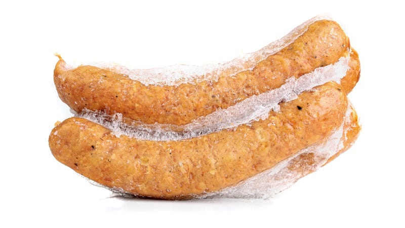 Illustration for article titled Smiling meat face appears in bag of frozen Aldi sausage
