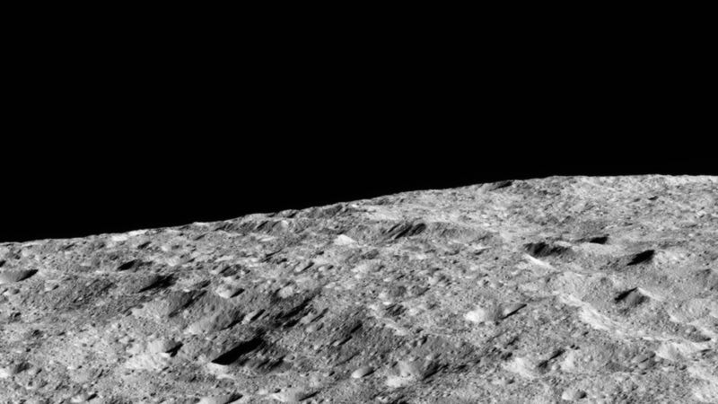 The surface of Ceres, imaged by the Dawn space probe.
